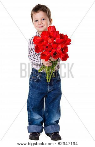 Boy with bouquet of tulips