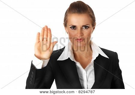 modern business woman showing stop gesture