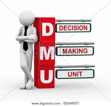 3D Businessman With Dmu Signpost Illustration