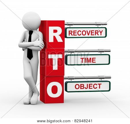3D Businessman With Rto Signpost Illustration