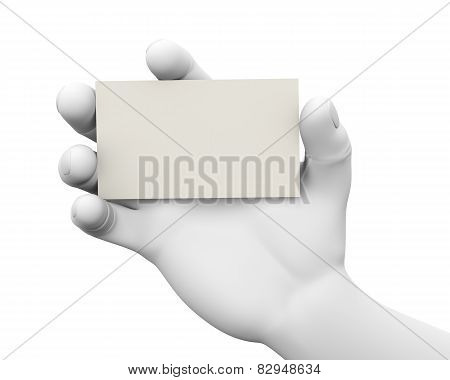 3D Businessman Showing Empty Card
