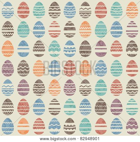 Seamless easter vintage pattern with stylized eggs