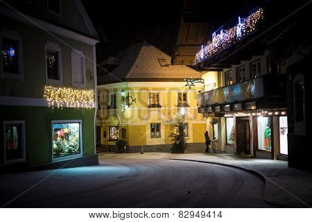 View Of Old Narrow Street In Austrian Cite At Night