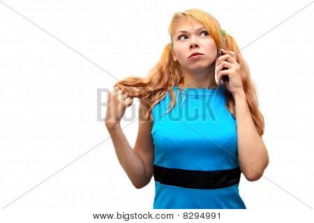 Young Girl Speaks By Phone