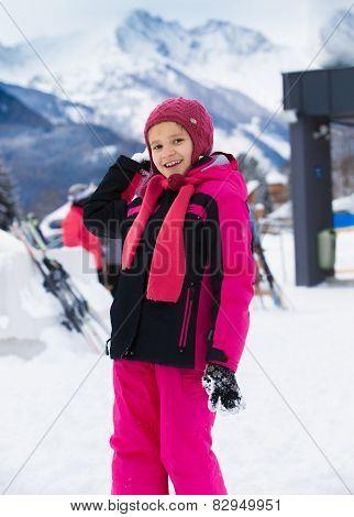 Smiling Girl Throwing Snowball At Highland Resort