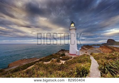 Castle Point Lighthouse at sunrise, Wairarapa New Zealand