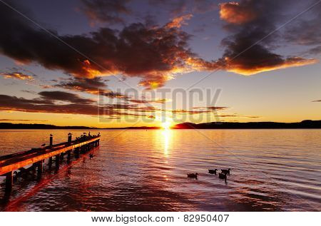 Lake Rotorua at sunrise, North Island, New Zealand