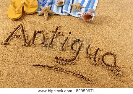 Antigua Beach Writing