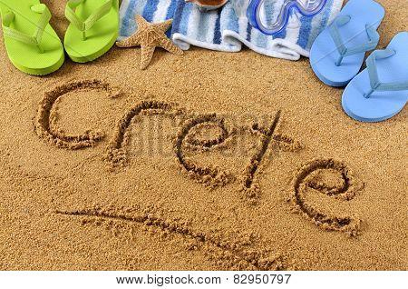 Crete Beach Writing