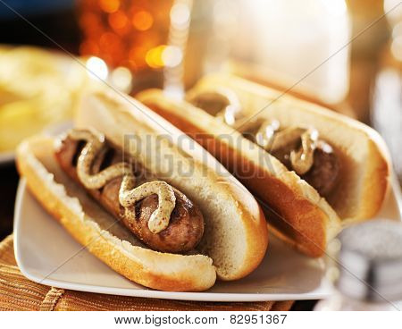grilled bratwurst sausages with dijon mustard