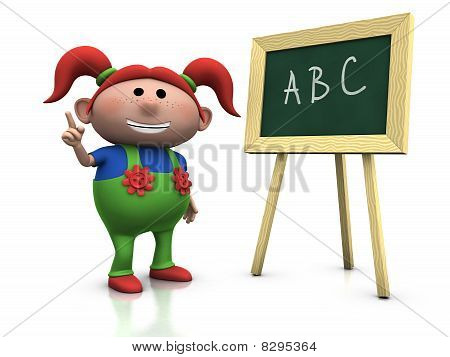 Red Haired Girl With Blackboard