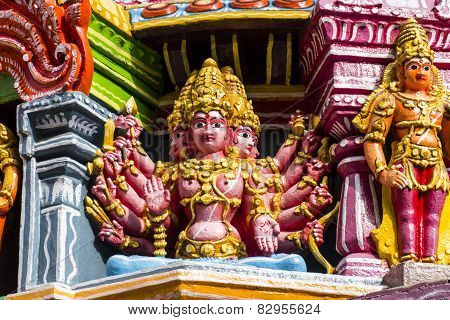 Statue of Hindu mythology multi-headed God Karthikeya in Hindu Temple