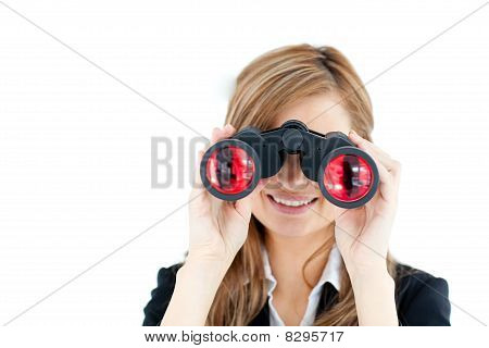 Positive Caucasian Businesswoman Looking Through Binoculars