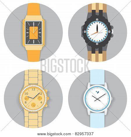 Round Frame Hand Watch Set , Flat Vector Illustration