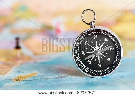 Compass On The Tourist Map