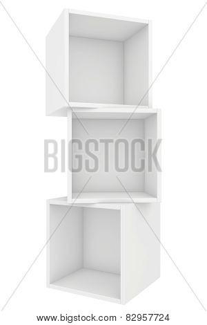 modern blank bookshelf. 3d render on white background.