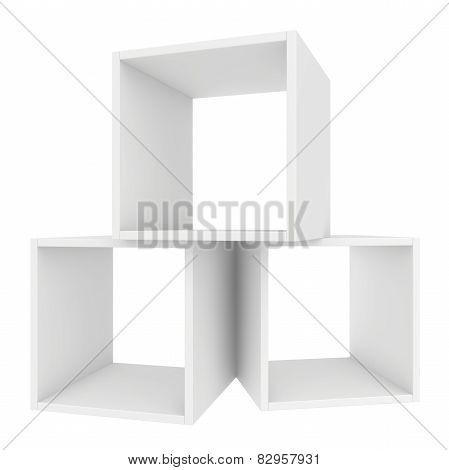 shelves white. 3d render on white background