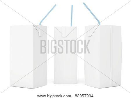 set blank juice packaging. 3d render on white background