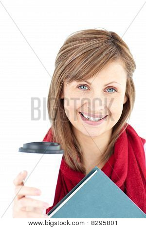 Cheerful Caucasian Woman Holding A Book And Coffee