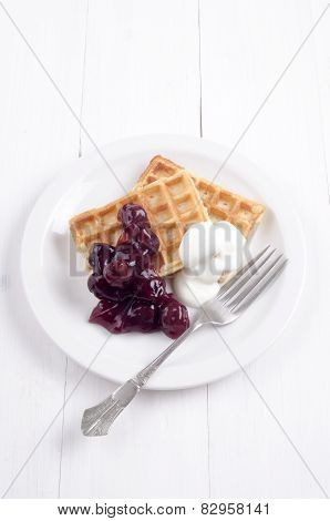 Waffle With Double Cream And Cherry Jam