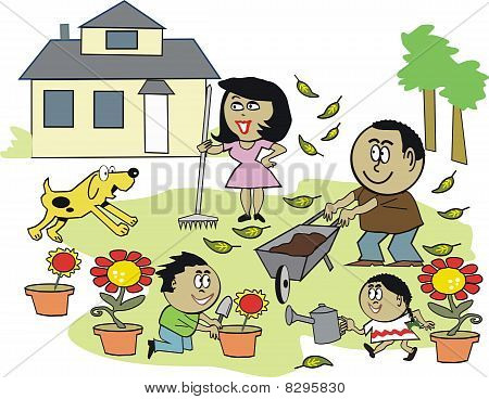 Family gardening cartoon