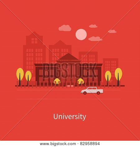 Flat design modern vector illustration icons set of urban landscape and education.