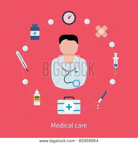 Flat design modern vector illustration concept for health care and medical help.