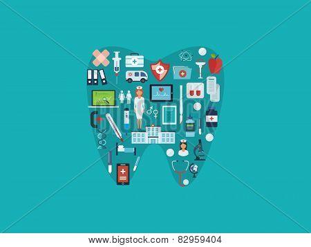 Flat design modern vector illustration concept for healthcare, medical help, medical center and hosp