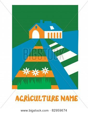 Agriculture emblem for the eco farm