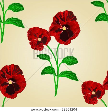 Seamless Texture Pansies Spring Flowers Vector
