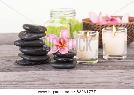 Spa With Bath Salt, Stones And Flowers