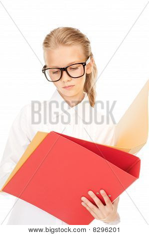 Elementary School Student With Folders