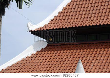 Roof detail of Masjid Kampung Hulu in Malacca, Malaysia