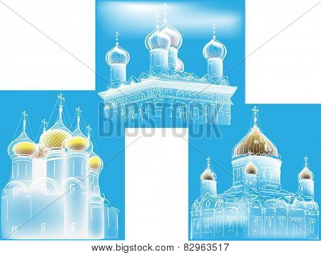illustration with orthodox church sketches on blue background