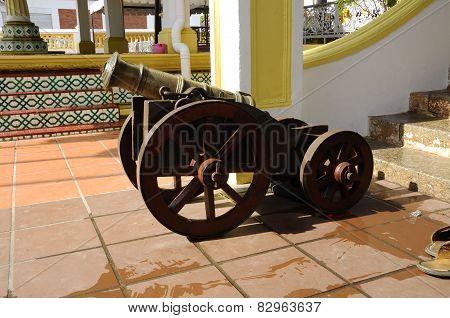 Old cannon at the Masjid Kampung Hulu in Malacca, Malaysia