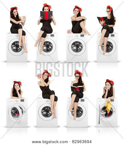 Cute Girl on Washing Machine Funny Collage