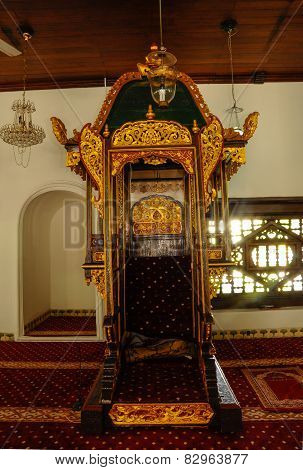 Mimbar of Masjid Kampung Hulu in Malacca, Malaysia