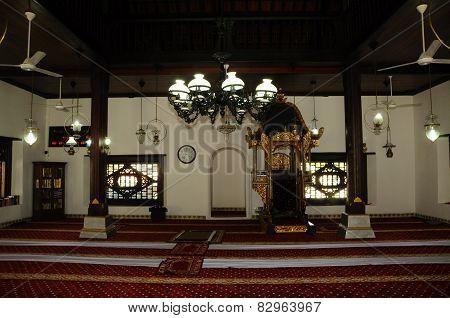 Interior of Masjid Kampung Hulu in Malacca, Malaysia