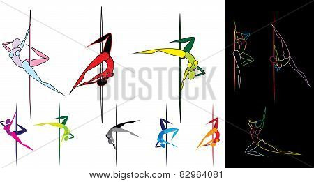 Colored pole dancers silhouettes