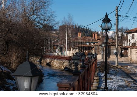 Street , Houses And River Topolnitsa In The Old Town Of Koprivshtitsa, Bulgaria