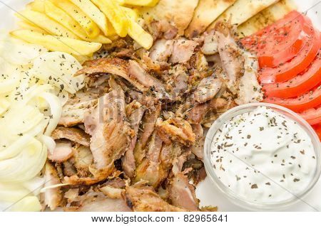 Fresh Greek gyros plate closeup