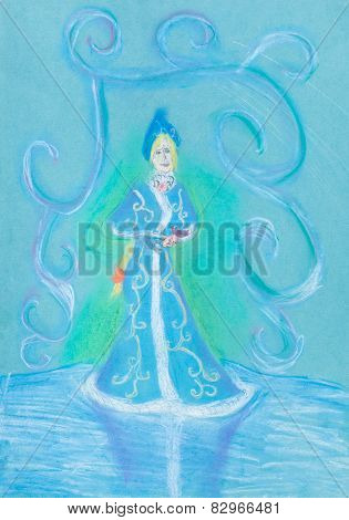 Snow Maiden On Blue Ice