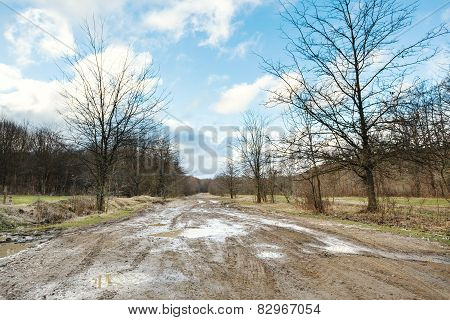 Impassable Country Road In Early Spring