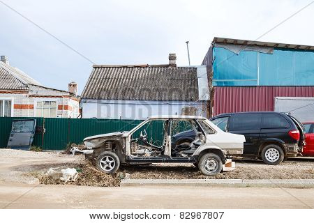 Old Disassembled Car Near Country Car Workshop