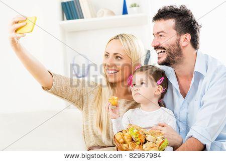 Happy Family Taking Selfie