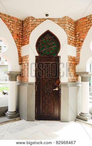 Minaret door detail at Kuala Lumpur Jamek Mosque in Malaysia