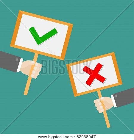 Two Businessman Hand Holding Paper Blank Sign Plate With Green Tick Check And Red Cross Mark Flat De