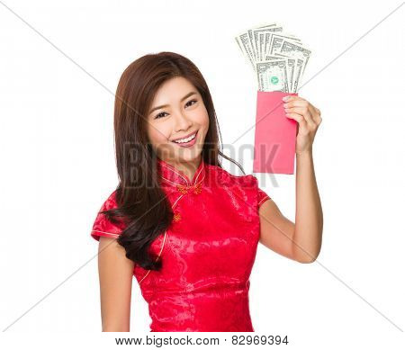 Asian woman hold red pocket money with USD