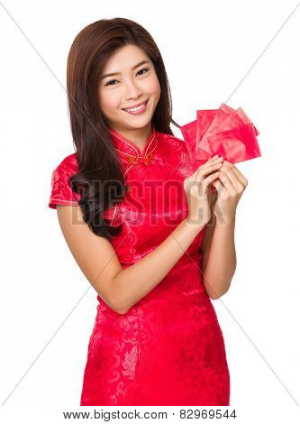 Chinese woman with lucky money for lunar new year