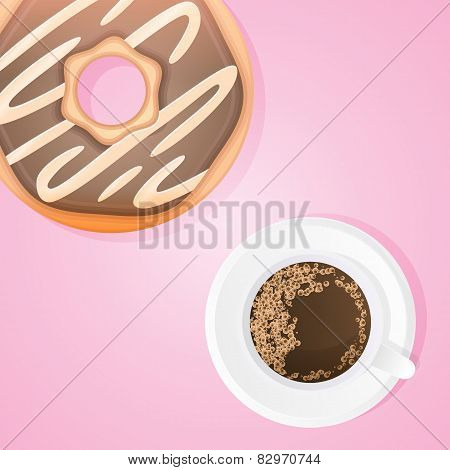 Cake With Cup Of Coffee
